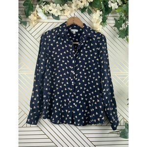 J. CREW Silk French Hen Printed Graphic Blouse